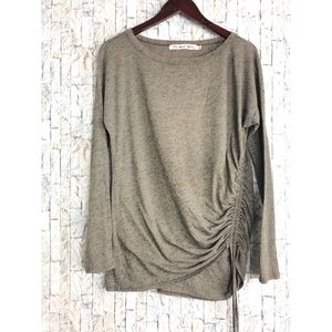 Michael Stars Taupe Long Sleeve Ruched Top